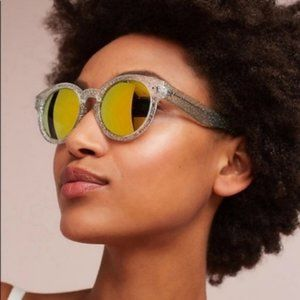 Anthro Mirrored Round Goldie Sunglasses Silver